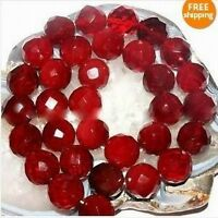 Natural 14mm-4mm Faceted AAA+++ Red Ruby Gemstone Round Beads 15''Select Size