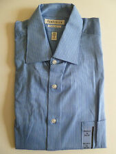 NEW Men's VAN HEUSEN Blue White Dress Shirt size 16 LARGE 32/33 Stripes