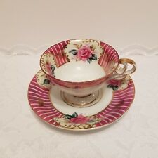 """Vintage Ucagco China Hand Painted Tea Cup Teacup Saucer Pink Rose Gold """"Gx"""""""