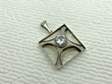 Vintage Finland Signed Sterling Silver Clear Stone Modernist Square Pendant (YN)