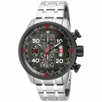 Invicta Men's Watch Aviator Chronograph Gunmetal Dial Steel Bracelet 17204