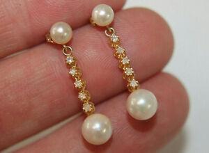 Gorgeous Solid 14K Yellow Gold Diamond 6.5mm Pearl Dangle Drop Earrings
