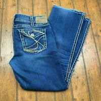 Silver Jeans Womens Suki Surplus Bootcut Jeans W31 L30 Blue Thick Stitch Stretch