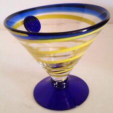Royal Caribbean Kosta Boda Cobalt Blue & Yellow Swirl Medallion Martini Glass #2