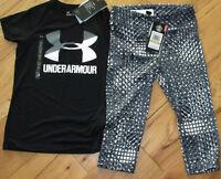 Under Armour black big logo top & capris crop leggings NWT UPICK girls' S L XL