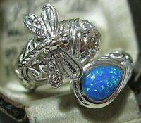 Vintage Style Sterling SILVER Gilson Blue Fire Opal Dragonfly RING Size N 6.75