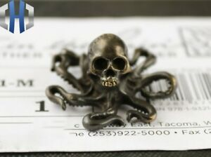 Brass Retro Industrial Wind EDC Red Skull Octopus Animal Toy Small Ornaments