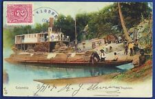 postcard boat Alto Magdalena river Colombia to Switzerland tarjeta stamp 1907