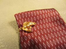 Vintage 1960's Yellow Gold Plated Fishing Fish Tie Clasp