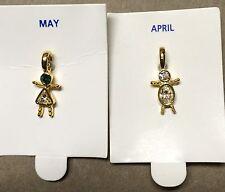 Children-Boy or Girl Birthstone Charm Pendant Gold Plated Resin Retail $4.99
