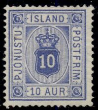 ICELAND #O6a (Tj6a) 10aur ultramarine shade, unused no gum, VF, Scott $475.00