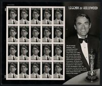 Gregory Peck Legends of Hollywood Sheet of 20 Forever Stamps Scott 4526