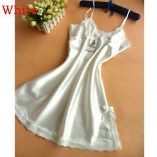 2017 Lingerie Women Silk Lace Robe Dress Nightdress Nightgown Sleepwear White