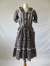 VINTAGE Cotton Dress Boho Hippy Festival Crochet Frill Floral Prairie Mini Uk 8