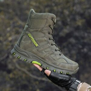 NEW MENS HIKING BOOTS TREKING TRAIL WALKING TRAINERS SHOES BOOTS BIG SIZES GREEN