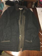 Mens Woolrich Large Charcoal Gray W/ Leather & Corderoy Coat, Parka, Jacket