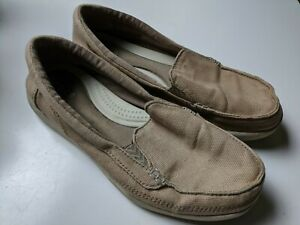 Crocs Canvas Loafers Women's Shoes Size 7 Tan Beige