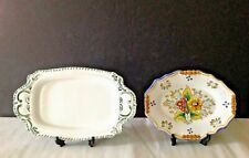 Two Vintage Spain Talavera Pottery Barreira Puente Handpainted Wall Trays/Plates