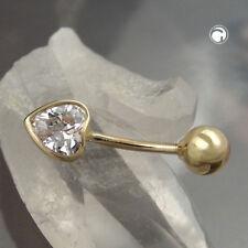 585 Gelbgold Goldpiercing Piercing 20x6mm Zirkonia-Herz 14Kt GOLD