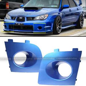 Fit 06 07 Impreza WRX Pair Blue Painted Fog Light Lamp Bezel Bumper Cover Cap