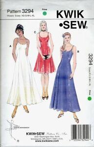 Kwik Sew Pattern 3294 | Sleeveless Dress in 3 Lengths | Misses XS - XL | NEW