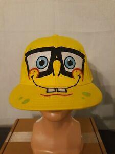 "2010 Nickelodeon Spongebob ""NerdPants"" Squarepants Yellow Youth S/M Fitted Hat"