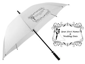 Personalised Wedding Umbrella In White - Mr & Mrs or Bride and Groom First Names