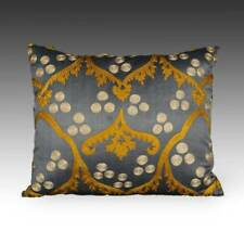 SUZANI PILLOW WITH IKAT BACK EMBROIDERED COTTON AND SILK TURKEY HOME DECOR 20TH