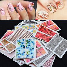 50pcs Lots Mixed Flower Pattern Nail Art Decal Water Transfer Sticker Decoration