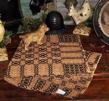 Prim Antique Vtg Style Shaker Cross Brn Tan Cotton Woven COVERLET RUNNER AQ76BSR