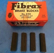 NEW OLD STOCK 4 X VINTAGE FIBRAX No.258 BRAKE BLOCKS-FOR BSA PHILLIPS STIRRUP