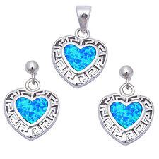 Blue Opal heart shaped .925 Sterling Silver Earring & Pendant jewelry set