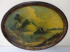 "Antique Painting on Oval Masonite Tray Titled ""Lower Lake of Killarney, Ireland"""