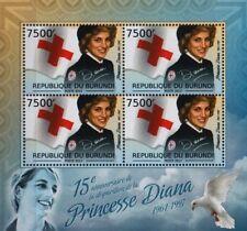 DIANA PRINCESS OF WALES (British Red Cross Uniform) Stamp Sheet (2012 Burundi)