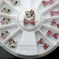 3D Nail Art Deco Hello Kitty & Bow Alloy Jewelry Glitter Rhinestone+Wheel #EB005