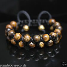 Double Layer Tiger's Eye Beads Black Shamballa Adjustable Bracelet Men Women