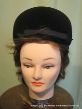 Chic Vintage 50's 60's Caprice Original Black Velvet High Pillbox Hat 21.5""