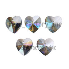 14mm Crystal Heart Faceted Loose Pendant Glass Loose Beads Findings 20 Colors