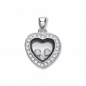 """Sterling Silver Floating CZ Heart 11mm Pendant,18"""" Chain, 925, SPD0231"""