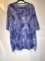 Pure Jill Long Sleeve V Neck Purple Print Pull on Top Size L???