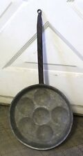 Antique Aebleskiver Copper Pan Metal Handle Lined with Tin