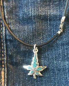 Silver Marijuana / Turquoise Inlay Pendant Necklace * Western* Cowboy * Boho