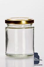 96 x 190ml / approx 8oz JAM JARS  PICKLE CHUTNEY HONEY C/W CHOICE OF LID COLOUR