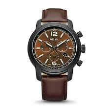 Fossil Swiss Fs-5 Series Chronograph Brown Leather Watch Fsw7008