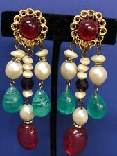 Vintage Clip-on  Earrings Gold Tone Color Stones & Rhinestones, Faux Pearls