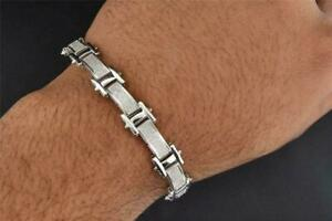Men's Round Simulated Diamond Pave Set Link Bracelet 14k White Gold FN 925Silver
