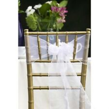 50x White Organza Sheer Chair Sashes Wedding Banquet Birthday Party Decoration