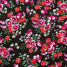 """Fabric 1 Yard 44"""" Wide Floral Pink Black Red Orange White Quilting Cotton #1V15"""