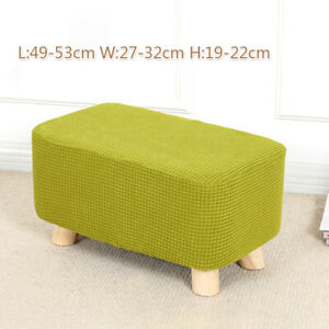 Stretch Square Ottoman Slipcovers Elastic Pouffe Footstool Sofa Protector Cover