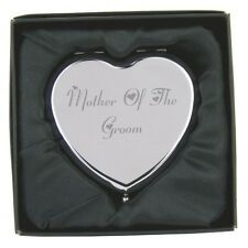 Engraved Mother of the Groom Heart Hand Compact Mirror & Gift Box FREE ENGRAVING